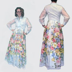 Vintage 70s Floral Maxi Dress Full Skirt 70s Small